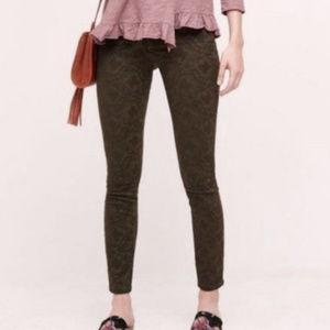 ANTHRO PILCO Serif Brown Jacquard Skinny Pants 28P